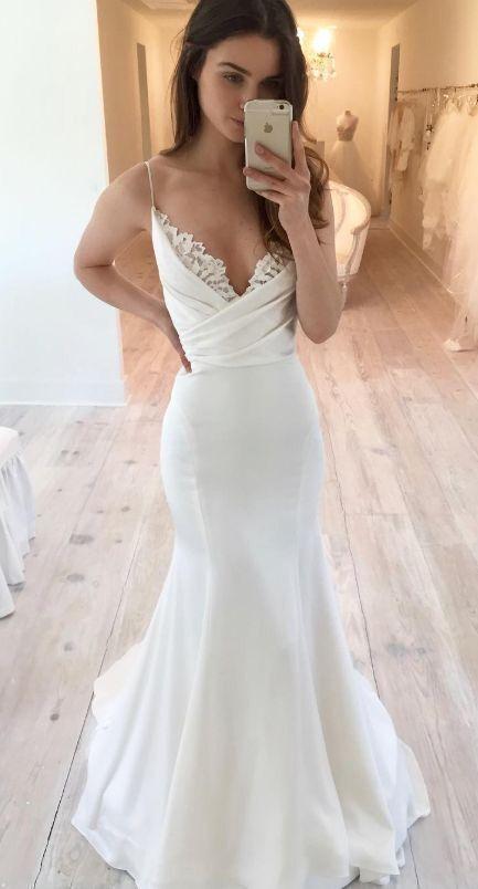 Mermaid Spaghetti Straps Wedding Dress P2216