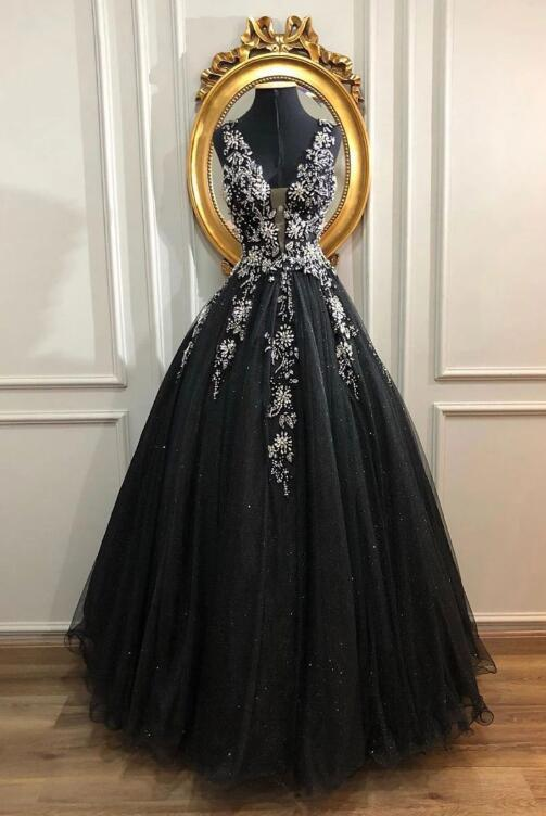 BLACK V NECK TULLE LONG PROM DRESS, BLACK TULLE EVENING DRESS