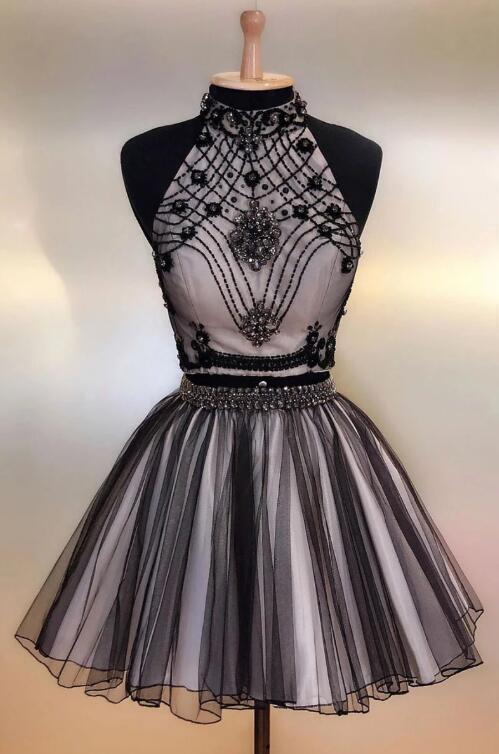 BLACK TULLE BEADS SHORT PROM DRESS, BLACK HOMECOMING DRESS