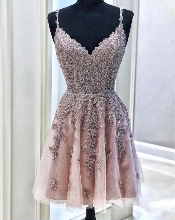 CUTE TULLE LACE SHORT PROM DRESS, TULLE LACE HOMECOMING DRESS