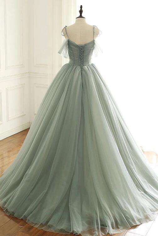 LIGHT GREEN TULLE LONG PROM DRESS, GREEN EVENING DRESS