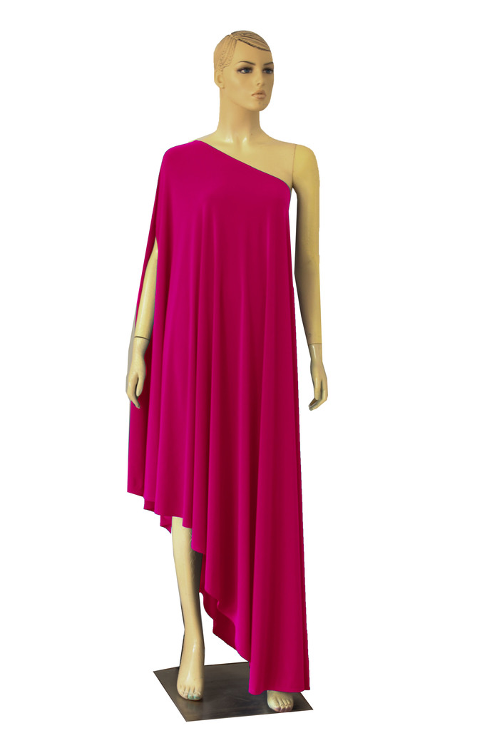 One Shoulder Dress Hot Pink Evening Gown Open Back A-line Dress Plus Size Formal