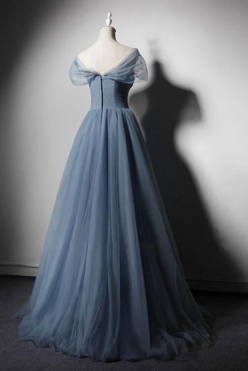 BLUE TULLE OFF SHOULDER LONG PROM DRESS, BLUE TULLE EVENING DRESS