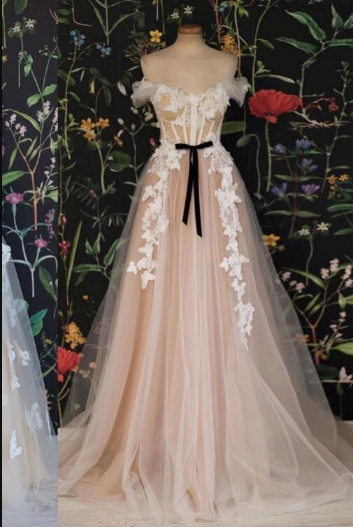 CHAMPAGNE OFF SHOULDER TULLE LACE LONG PROM DRESS, EVENING DRESS
