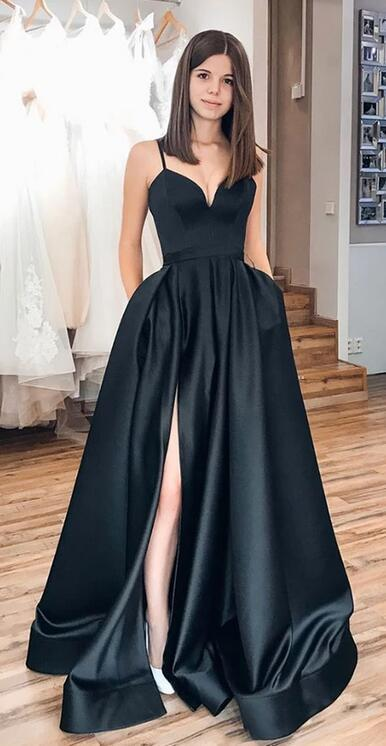 Copy of Simple Long Prom Dress with Slit, Popular School Dance Dress ,Fashion