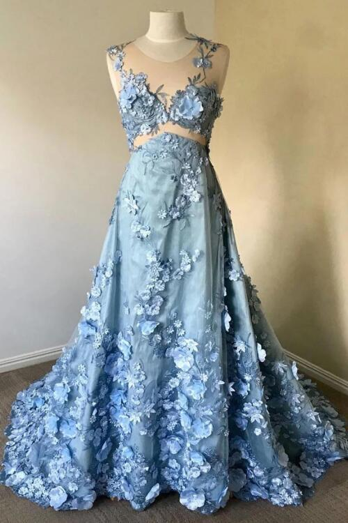 BLUE ROUND NECK LACE LONG PROM DRESS, BLUE LACE EVENING DRESS