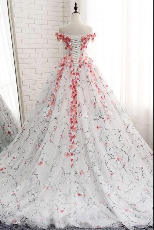 WHITE TULLE 3D APPLIQUE LONG PROM DRESS, WHITE TULLE EVENING DRESS