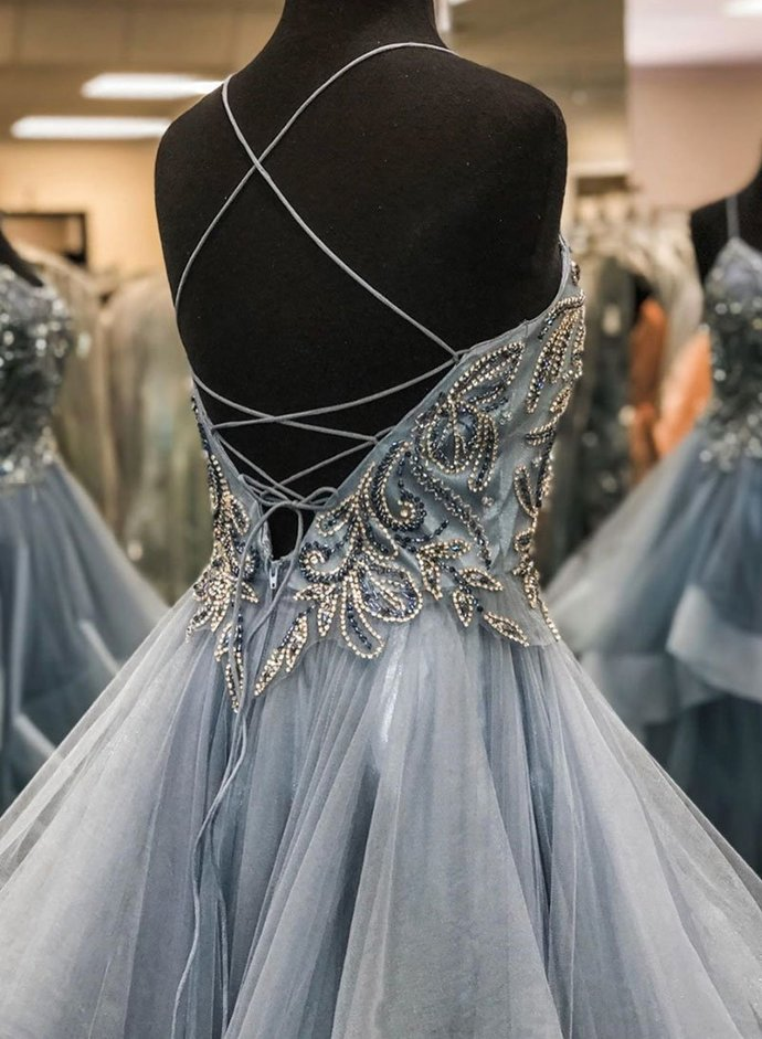 Beading Long Prom Dress with Lace up Back Popular Evening Dress G484
