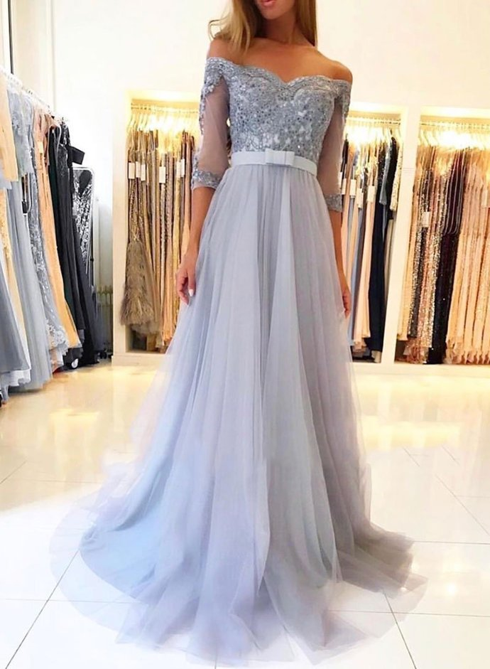 Off Shoulder Long Prom Dress with Applique and Beading Popular School Dance