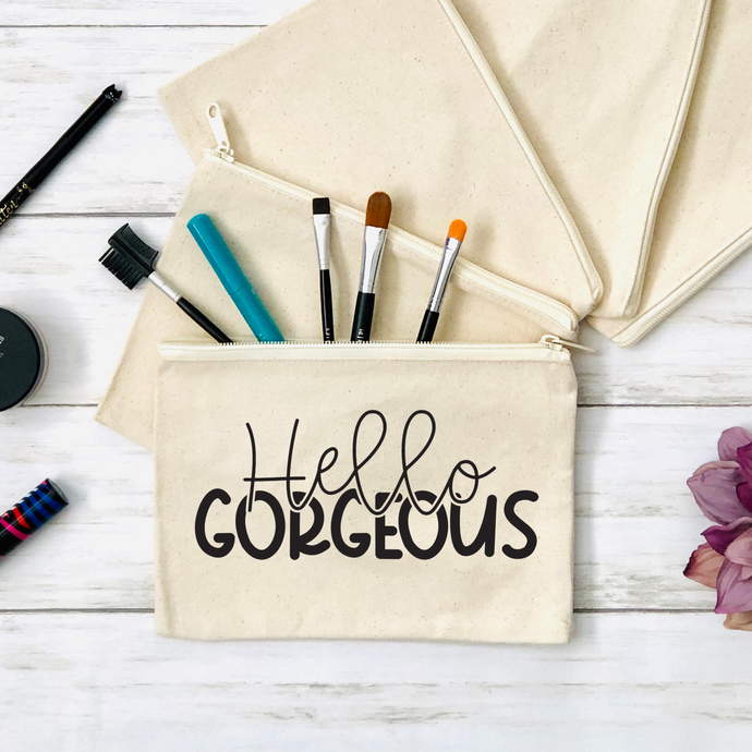 Hello Gorgeous Cosmetics Pouch, Canvas Zippered Pouch