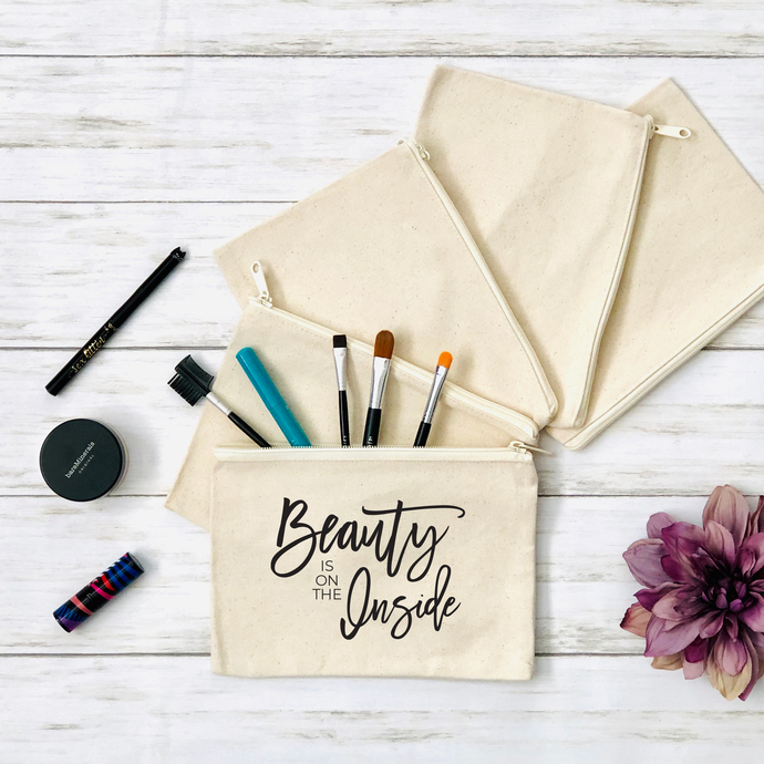Beauty Is On The Inside Cosmetics Pouch, Canvas Zippered Pouch