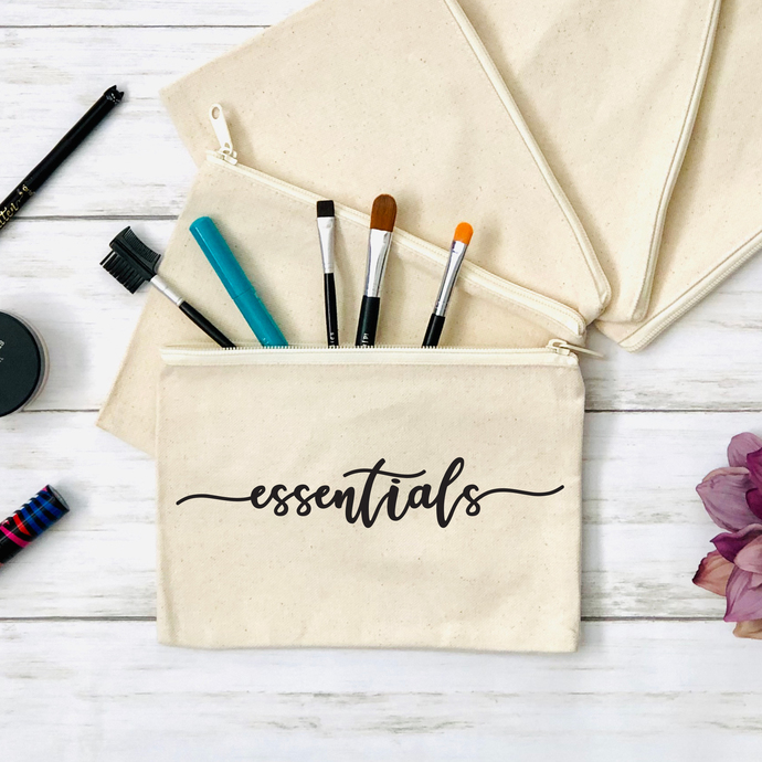 Essentials Cosmetics Pouch, Canvas Zippered Pouch