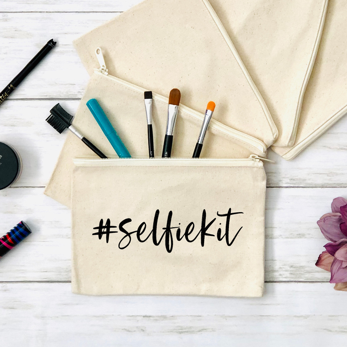 Selfie Kit Cosmetics Pouch, Canvas Zippered Pouch