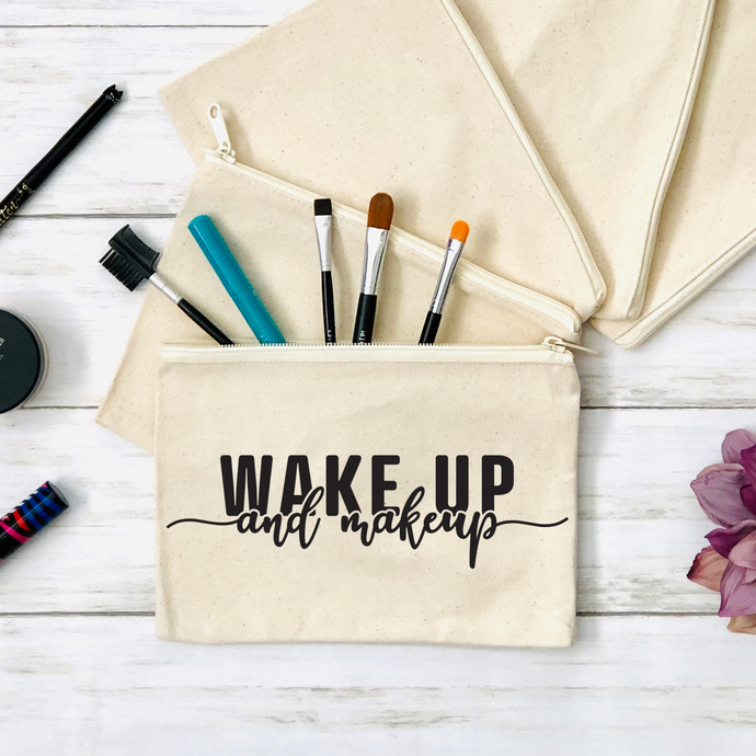 Wake Up and Makeup Cosmetics Pouch, Canvas Zippered Pouch