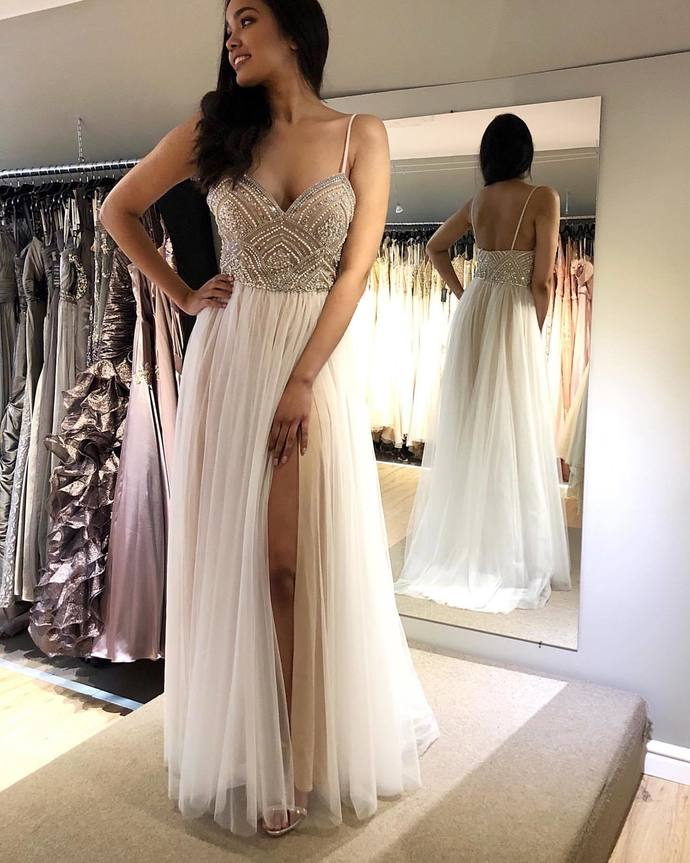 A-line Tulle Long Prom Dress With Beading,Fashion Wedding Party Dress G5473