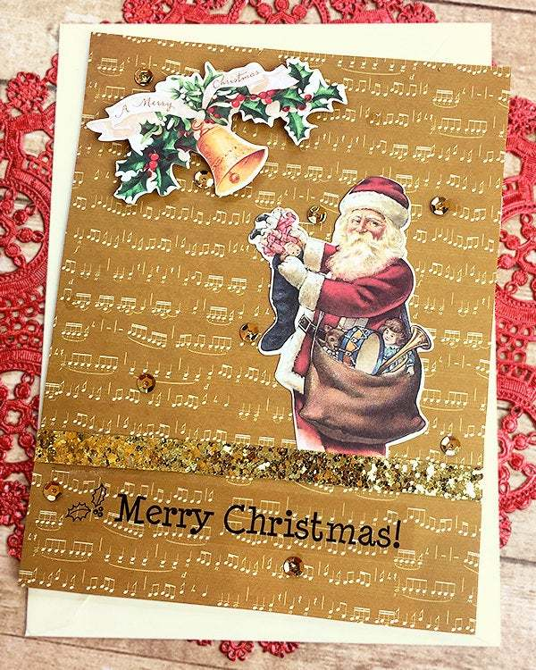 Golden Music Notes Santa Christmas Card, Vintage-look, Old Fashioned, Layers,