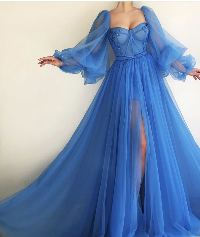 Charming Blue Prom Dresses,Off the Shoulder Evening Dresses,Long Sleeves A-line