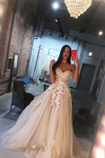 Simple Sexy Long Sweetheart Tulle Applique Wedding Dress Evening Dress G2654