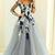 A-Line V-Neck Long Sleeves Grey Tulle Prom Dress with Appliques Hot Formal Gowns