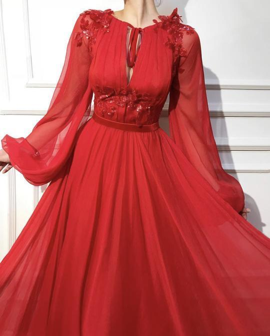 Red Candy Apple dress color Tulle dress fabrics P2228