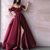 Off Shoulder A-line Satin Sexy Slit Backless Prom Dress with Pockets P2230