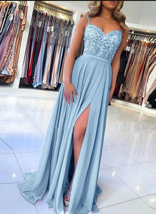 Blue lace A line Long Prom Dress Hot Evening Dresses Long Formal Gowns G2650