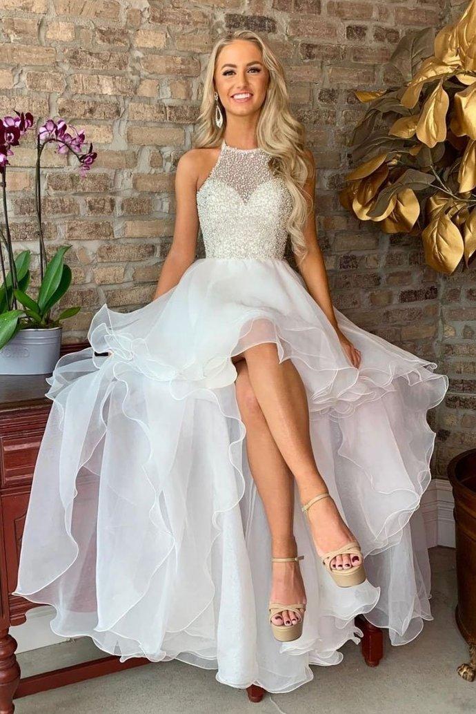 Princess White Beaded Bodice Prom Dress,Halter High Low Homecoming Dress P2233
