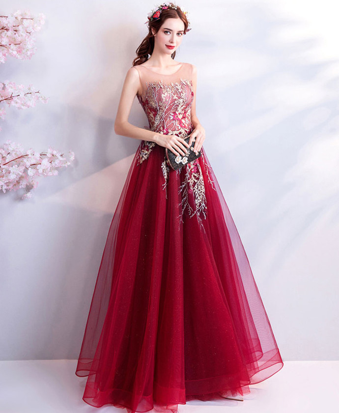 Red Prom Dress,A-Line Prom Gown, Appliques Prom Dress, O-Neck Prom Gown 0035