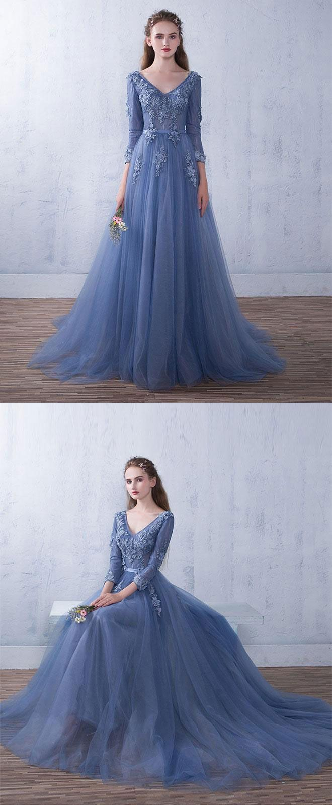 Beautiful Sky Blue Long Prom Dress,Party Dress With Long Sleeves P2236