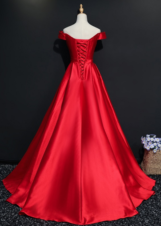 Red Satin New Off Shoulder Beaded Long Formal Dress,Prom Party Gowns,Evening