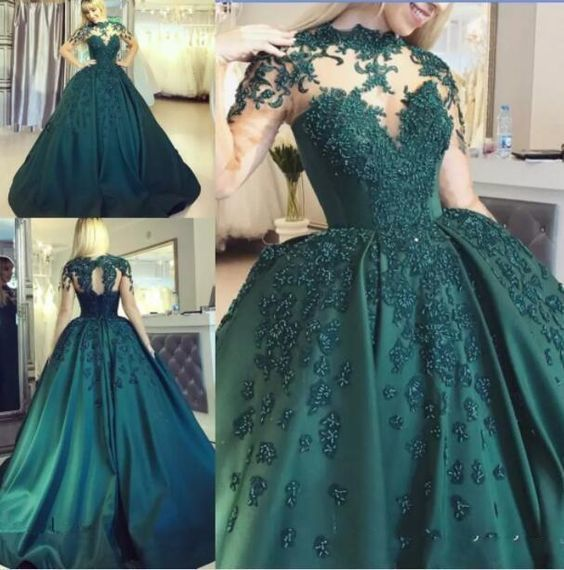 Hunter Green Ball Gown Prom Dresses With Illusion Bodice Long Sleeves P2239