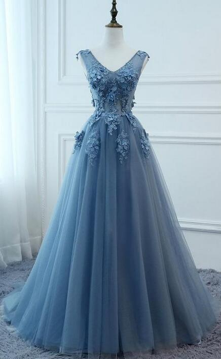 A-line Long Prom Dress with Applique and Beading Fashion Dance Evening Dresses