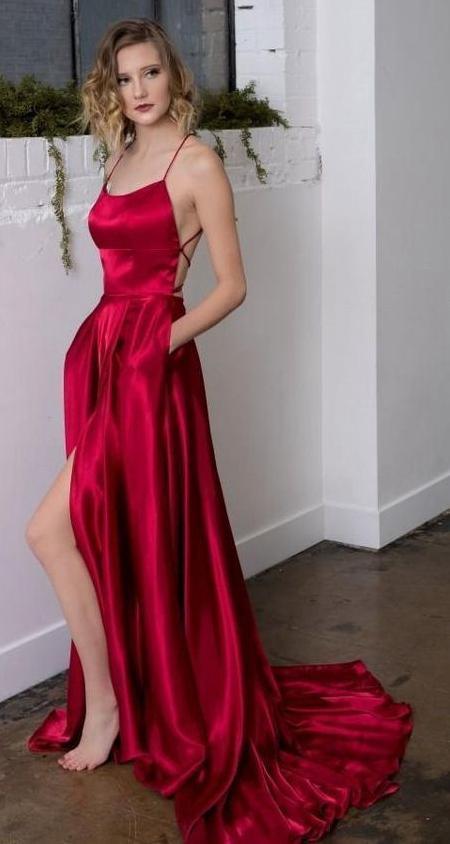 Simple Long Prom Dresses with Slit Fashion Dance Dress Evening Dress G5596