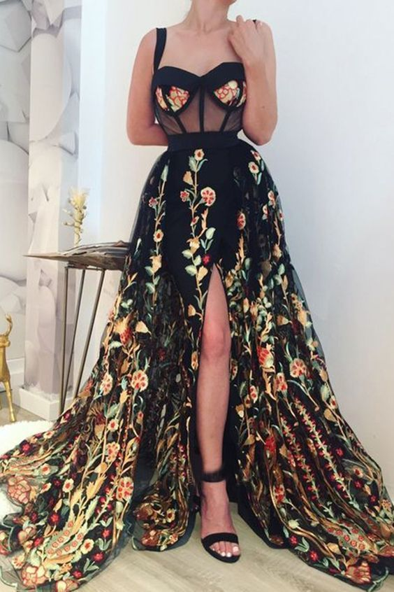 Simple Long Prom Dresses Lace Cheap Slit Party Gowns Evening Dress G5499