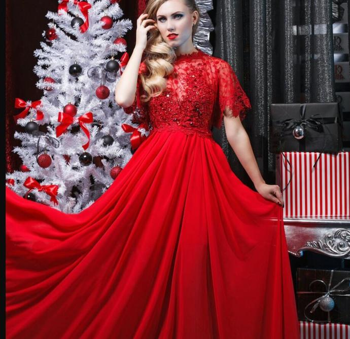 Charming High Neck Lace Prom Dresses With Sleeve Custom Made Red Formal Evening