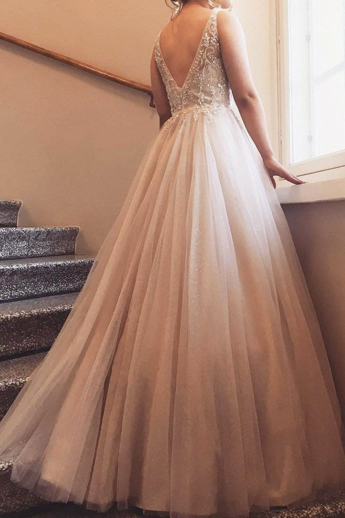 V-Neck Floor Length Beading Long Tulle Evening Dress P2247