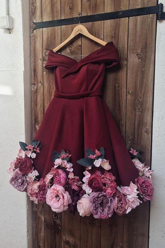 BURGUNDY TULLE APPLIQUE SHORT PROM DRESS, BURGUNDY HOMECOMING DRESS P2248