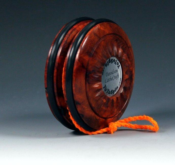 Amboyna Burl Handmade Yo-Yo: Fixed Axle Imperial