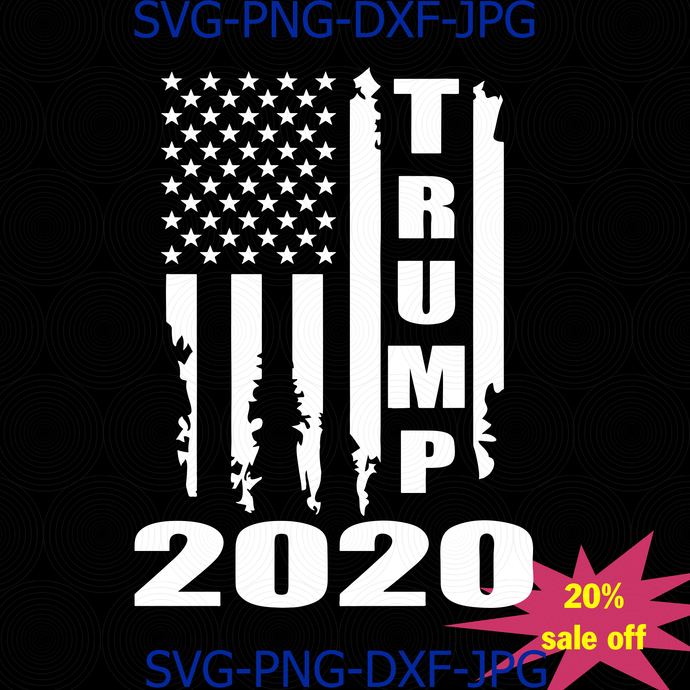 Trump 2020, American Flag svg, Distressed Vintage Silhouette Design Election