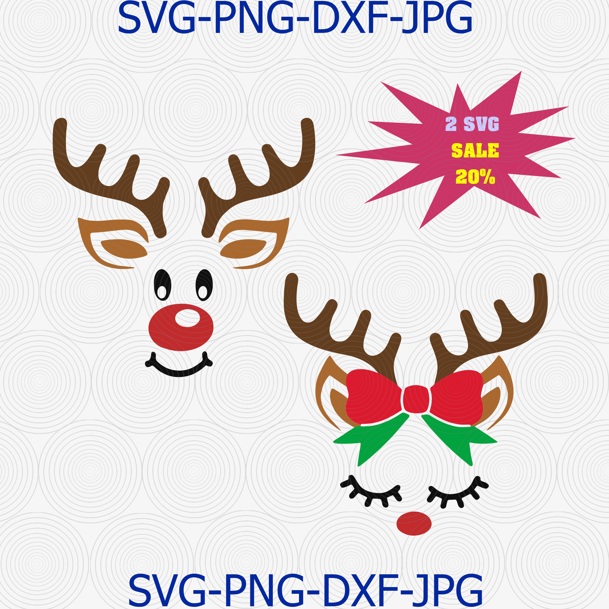 Reindeer Face Svg For Cricut Silhouette Iron On By Digital4u On Zibbet