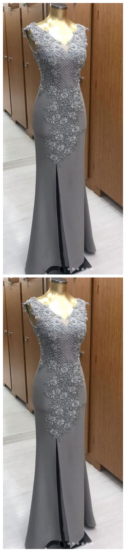 V Neck Chiffon Lace Long Prom Dress. Gray Evening Dress P2252