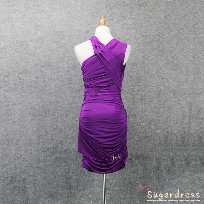 Ons Shoulder Pleated Purple Cocktail Dress 8001909