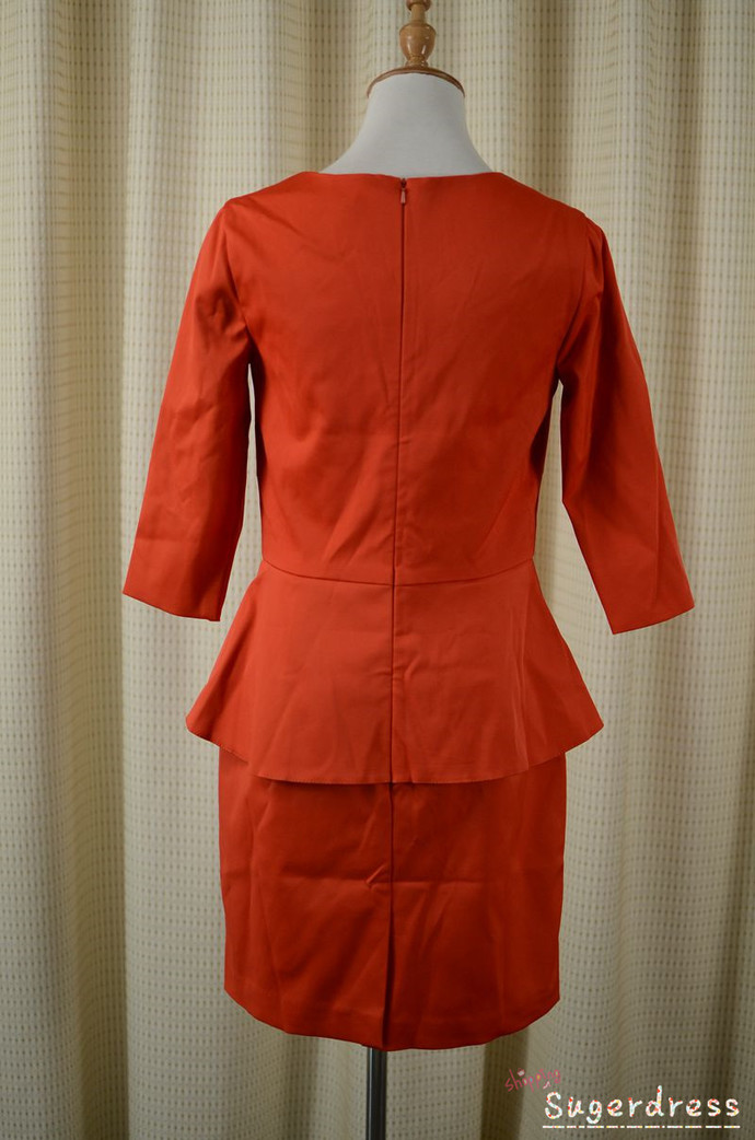 V-Neck Peplum Orange Blazer Dress with Half Sleeves 8001911