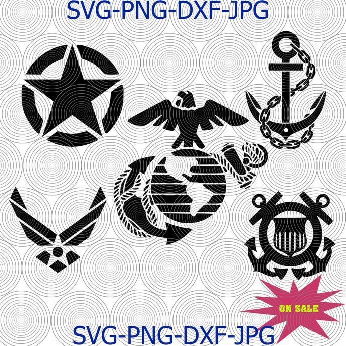 Military logo bundle svg, Army svg, Marines Corps svg, air force svg, Coast