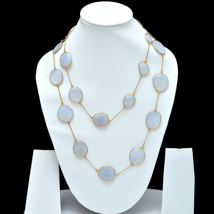 Chalcedony Bezel Connector Chain,925 Sterling Silver Chalcedony Link