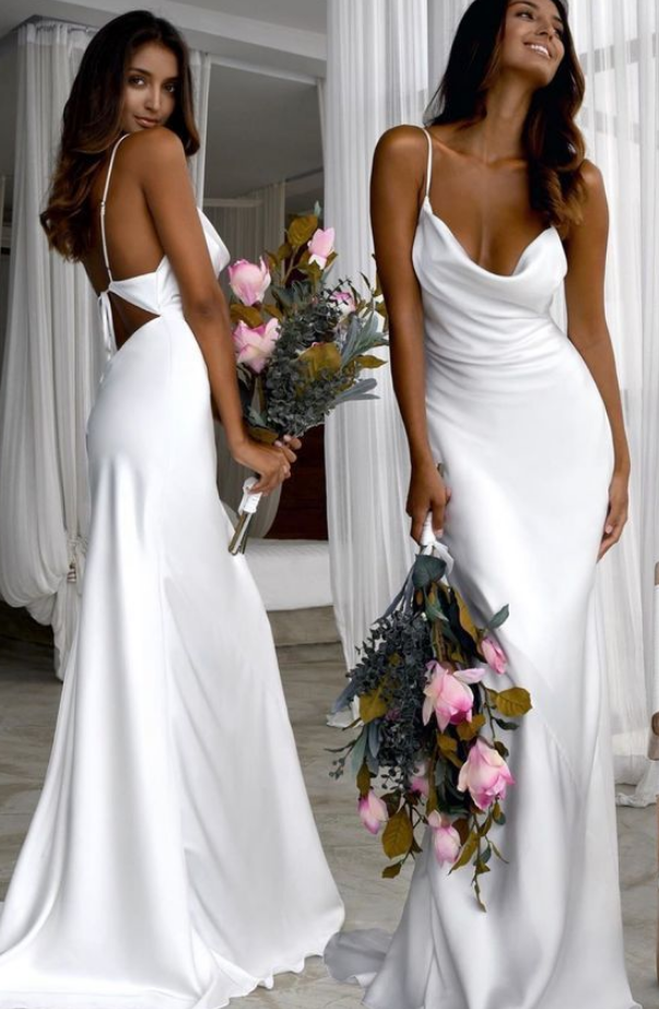 Sexy Slim White Wedding Dresses with Cowl Back