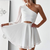 Simple A-Line One Shoulder White Custom Cheap Homecoming Dresses