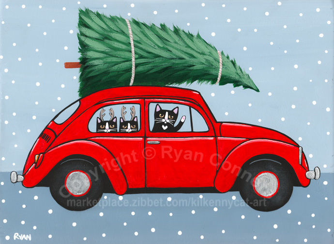 Bringing Home The Christmas Tree Original Cat Folk Art Painting