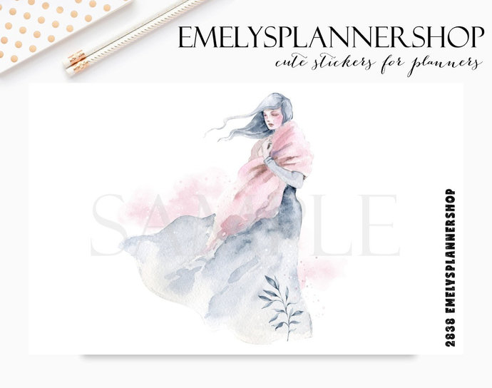 Mystic Winter Girl, Scene with Snow, Snowy Forest, Watercolor Stickers, Planner