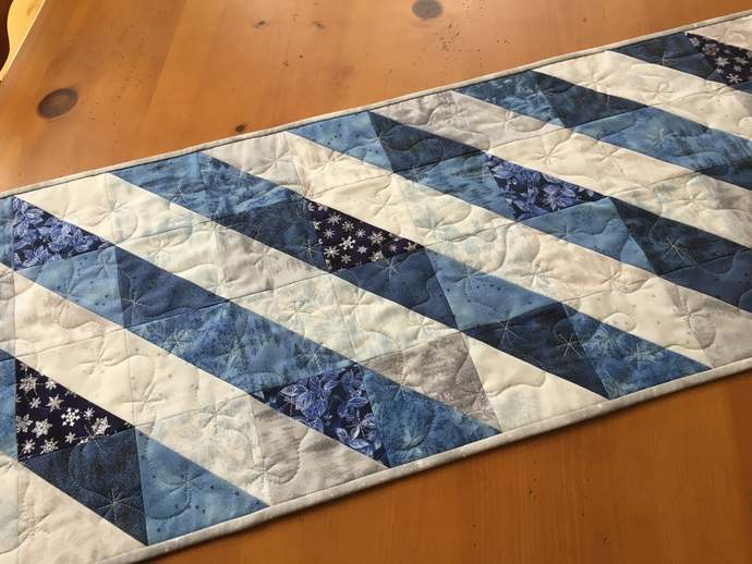 Table Runner Winter Decor Blue hite and Gray